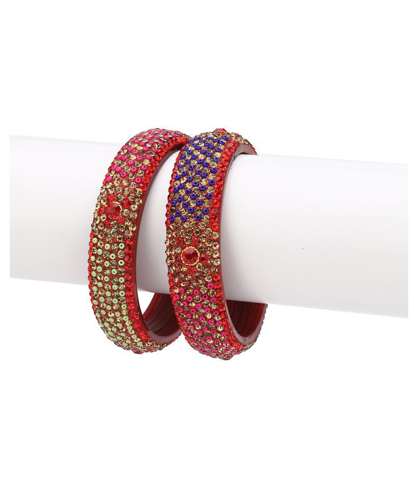 Somil Exclusive Wedding Collection Bangle Set Designer Ornamented Red, Blue& Golden (Size 2.6)