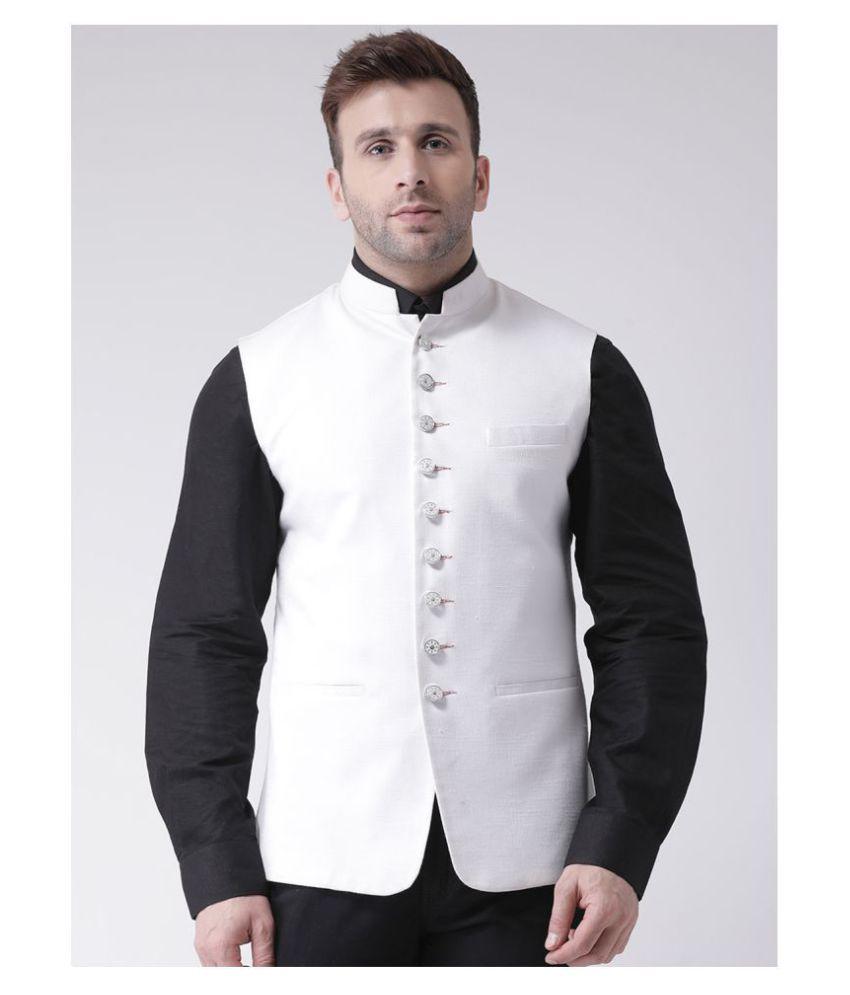 Hangup White Cotton Blend Nehru Jacket