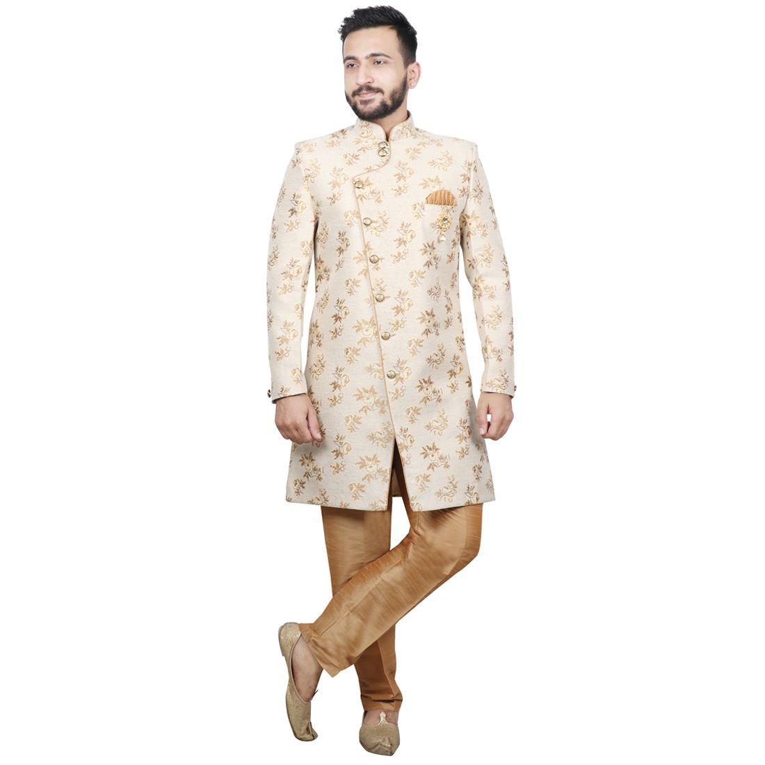 SG RAJASAHAB Gold Silk Sherwani