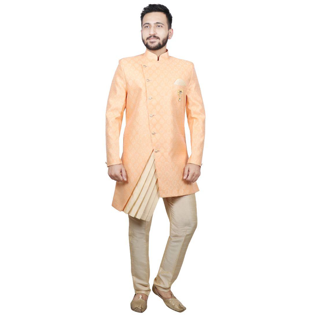 SG RAJASAHAB Orange Silk Sherwani
