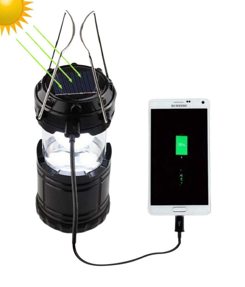 Sio Black LED Solar Emergency Light with USB Mobile Charge and 3 Power Source