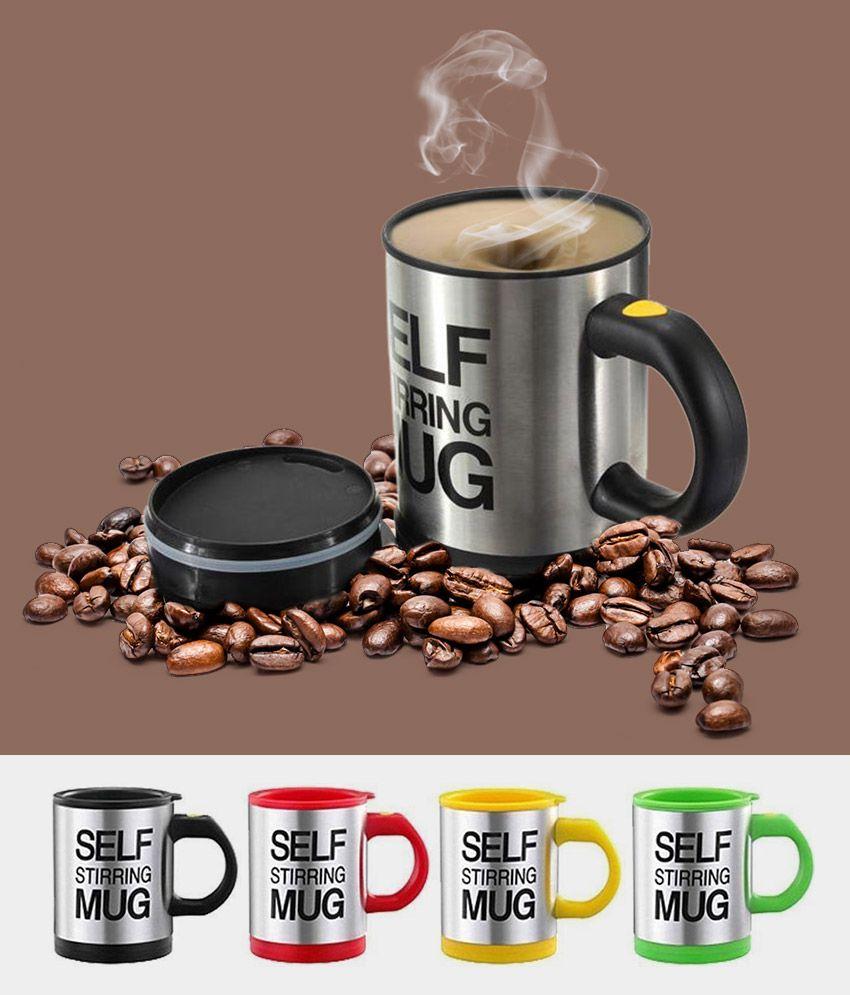 Dolphy Self Stirring Coffee tea Mug cup - Capacity 350ml - Assorted Colour