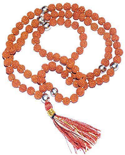 RUDRADIVINE 108 Beads Mercury Rudraksha Parad Mala for Men and Women (Brown)