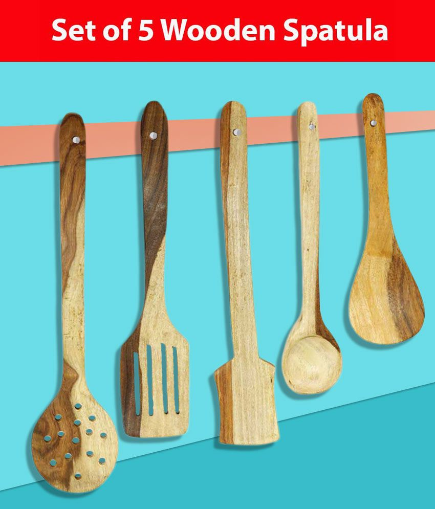 Worthy Shoppee Handmade Pine Wood Serving And Cooking Spoon Kitchen Tools Utensil Set Of 5