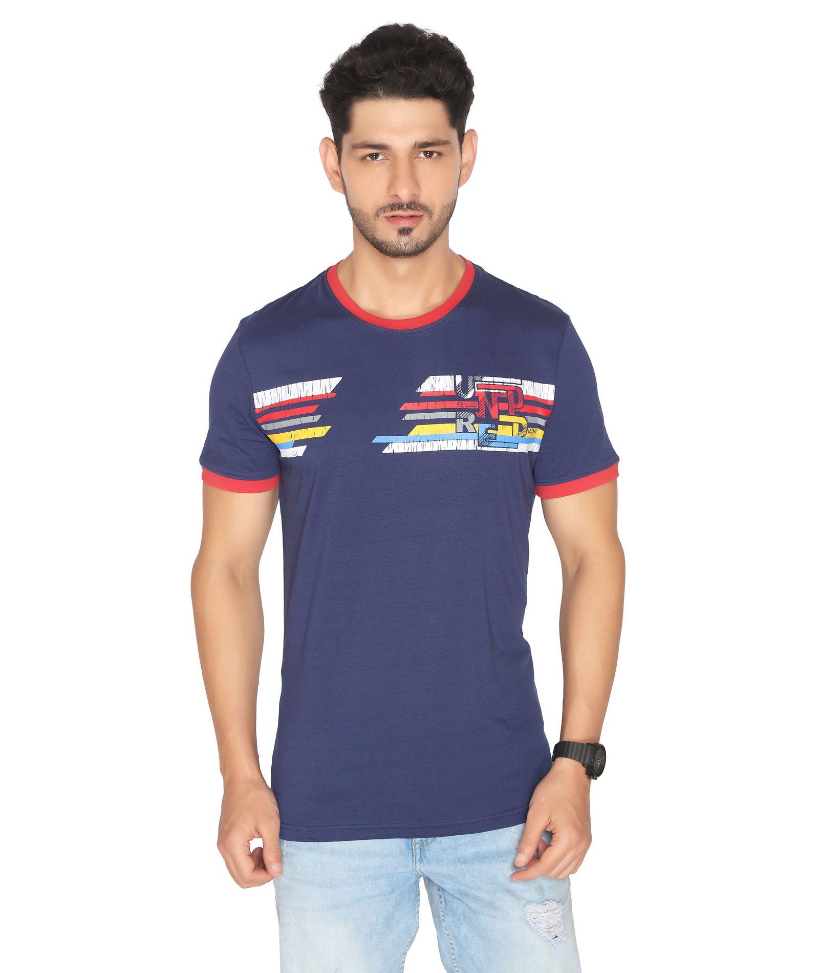NEXGEN CLUB Cotton Blend Blue Printed T-Shirt