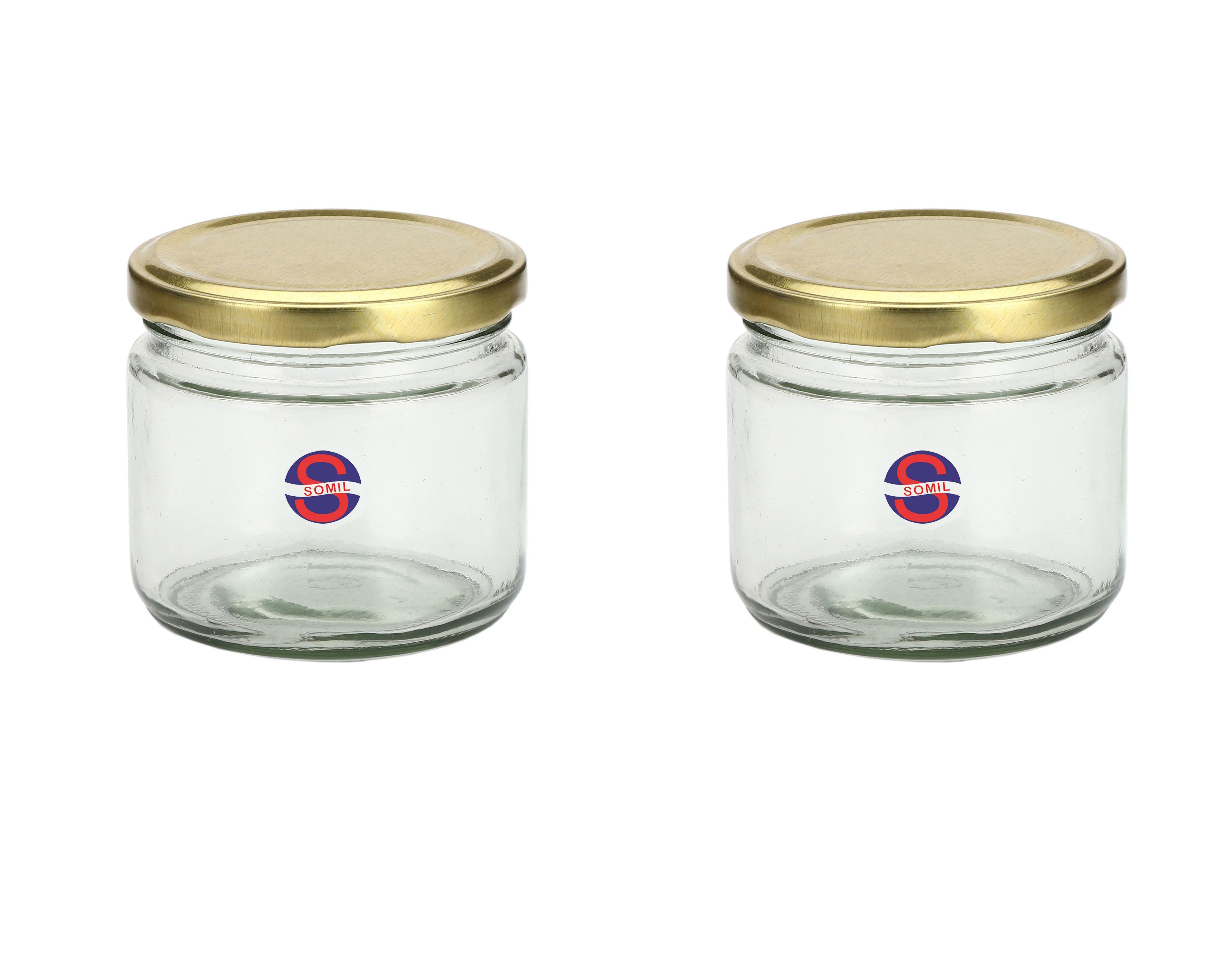 Somil Transparent Jar Glass Oil Container/Dispenser Set of 2 300 mL