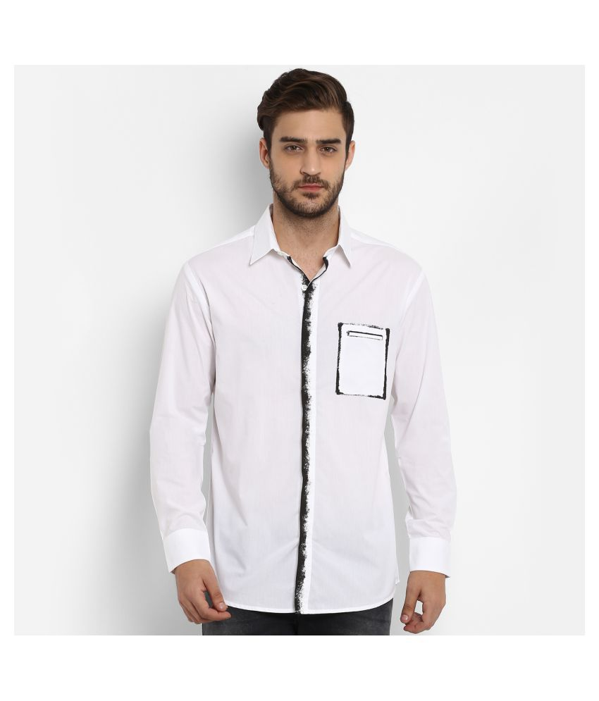 Mufti 100 Percent Cotton White Solids Shirt