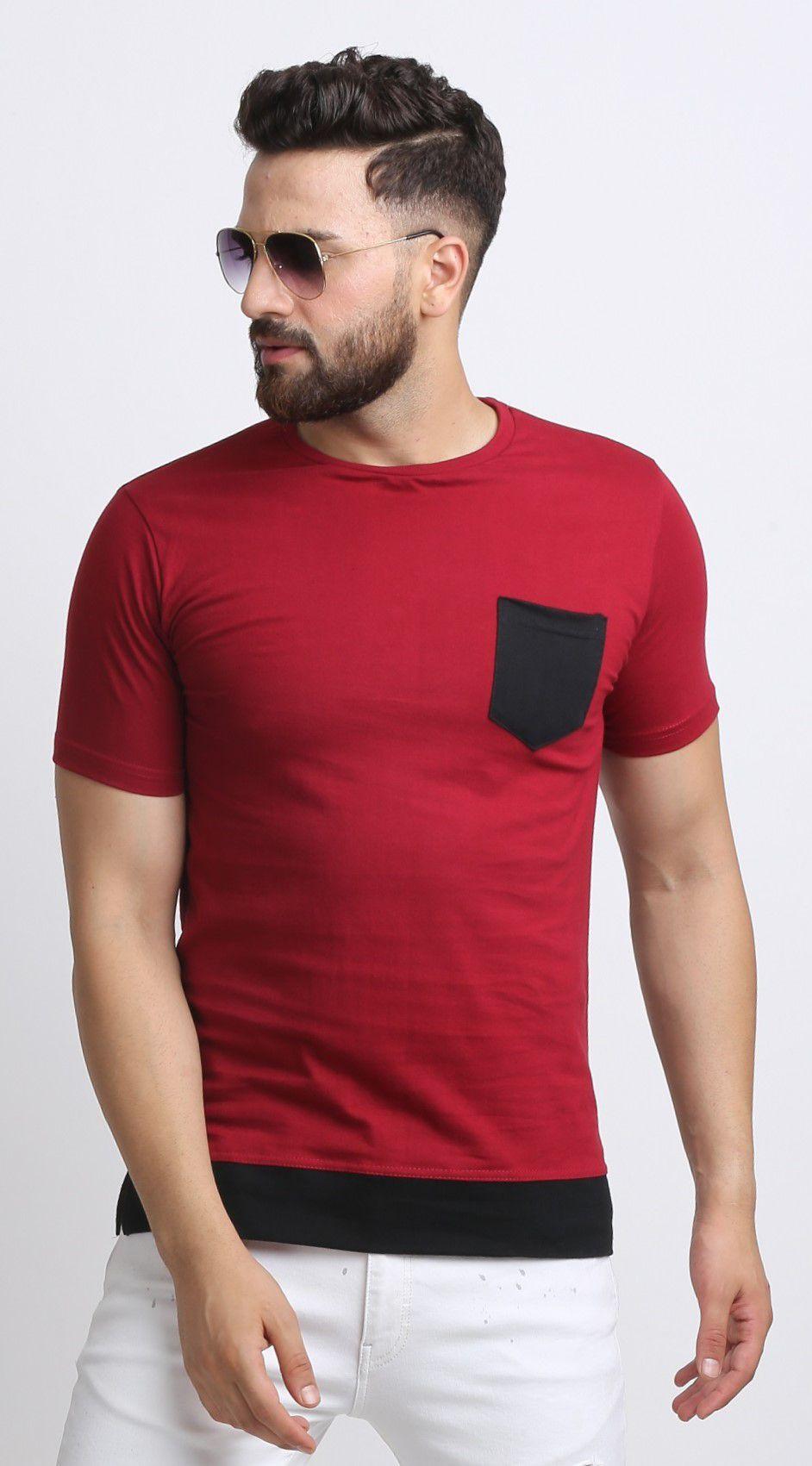 Leotude 100 Percent Cotton Maroon Solids T-Shirt