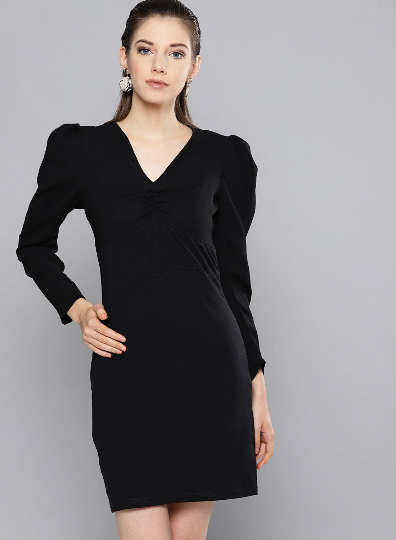 Besiva Polyester Black Regular Dress