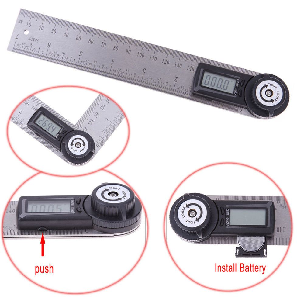 ELECTRONIC DIGITAL 7 INCH 360 DEGREE DIGITAL ANGLE RULE RULER FINDER PROTRACTOR