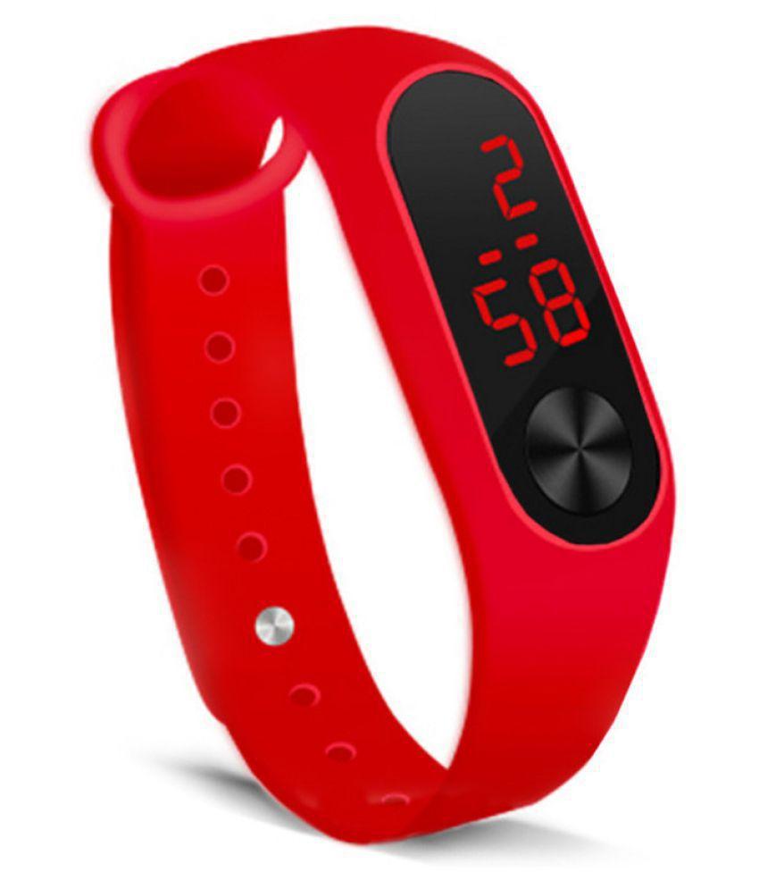 EXOMOON ENTERPRISE 7 RED LED PU Digital Men's Watch