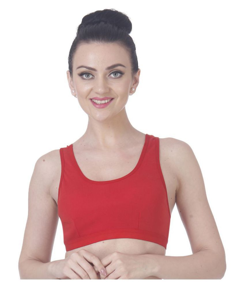 Nutex Sangini Red Cotton Lycra Solid Sports Bra