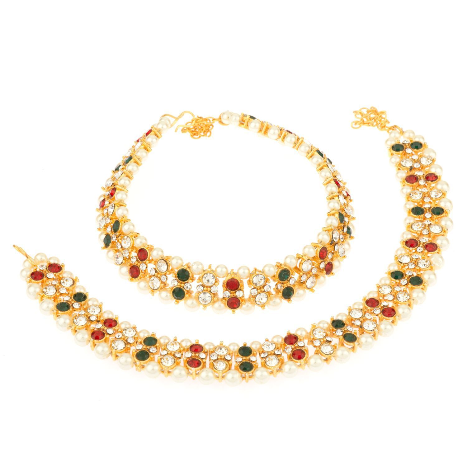 Archi Collection Fashion Stylish Traditional Gold Plated Pearl Crystal Wedding Bridal Wear Anklets Payal Jewellery