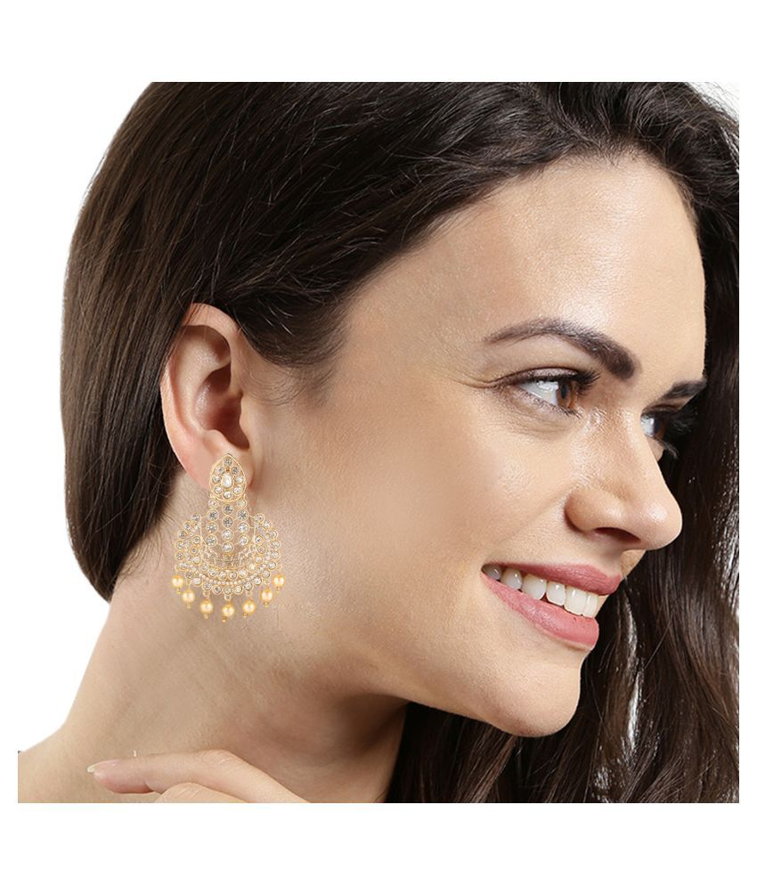 Kord Store Fashionable Latkan Pearls White Stone Gold Plated Dangle Earring For Women