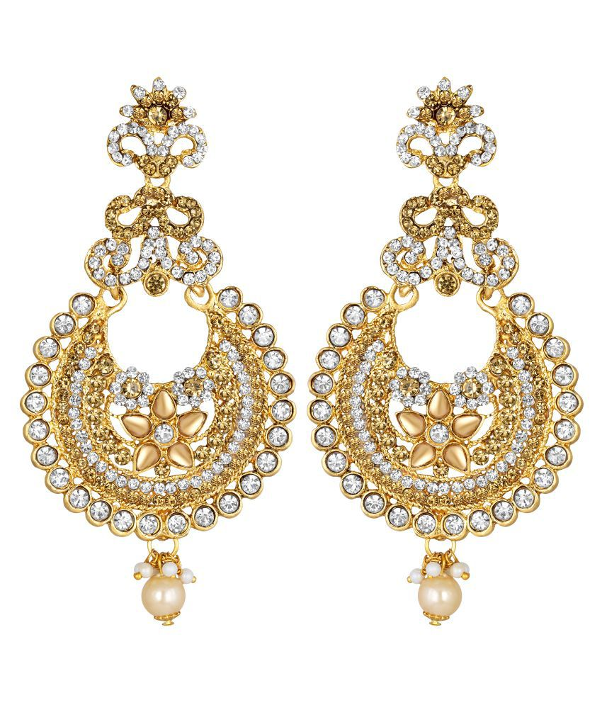 Kord Store Good-Looking Designer White Stone Gold Plated Chand Bali Earring For Women