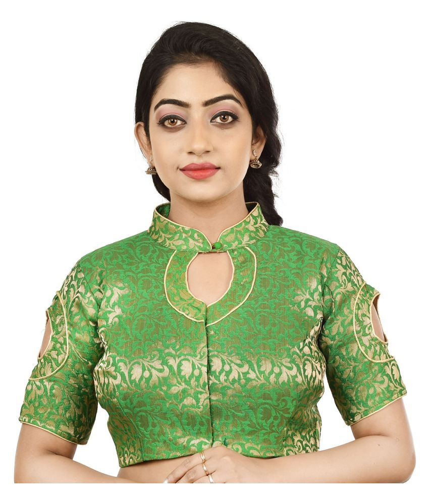 FASHION OFFBEAT Green Brocade Readymade without Pad Blouse