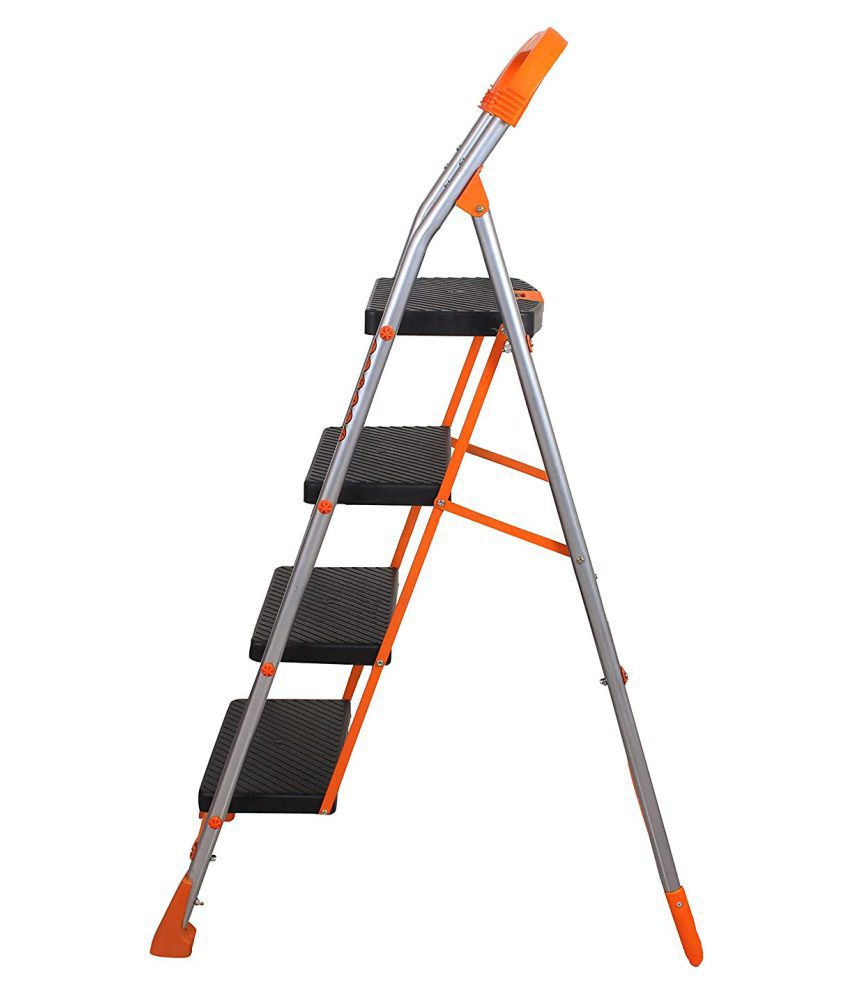 SAWARIA HOMECARES POLLUX 4 STEP LADDER ORANGE MADE OF HEAVY DUTY STEEL FOLDABLE