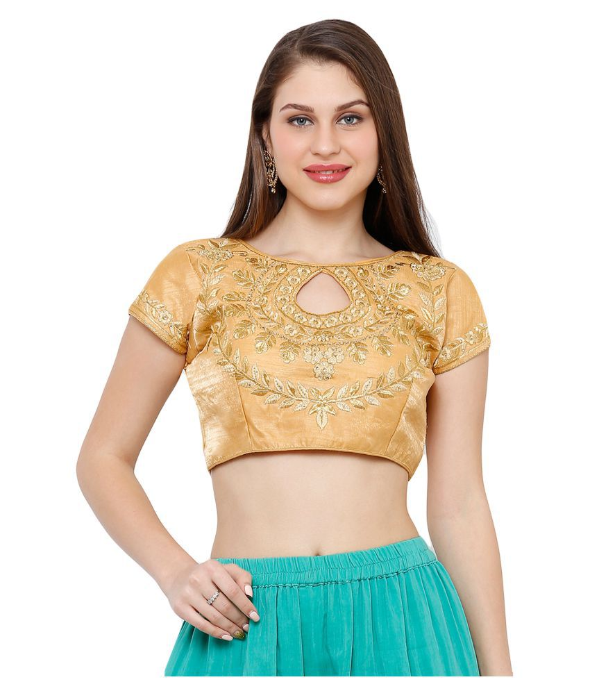 Salwar Studio Gold Silk Readymade with Pad Blouse