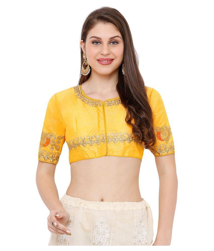 Salwar Studio Yellow Silk Readymade with Pad Blouse