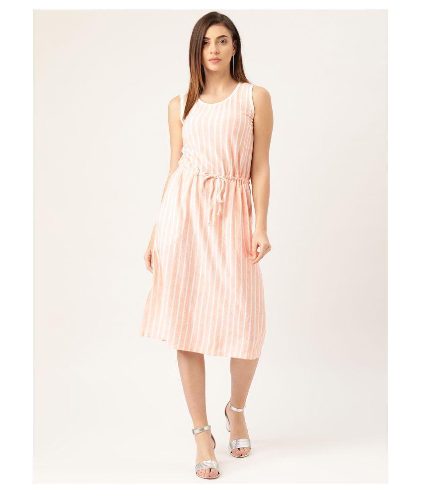 Rute Cotton Orange A- line Dress