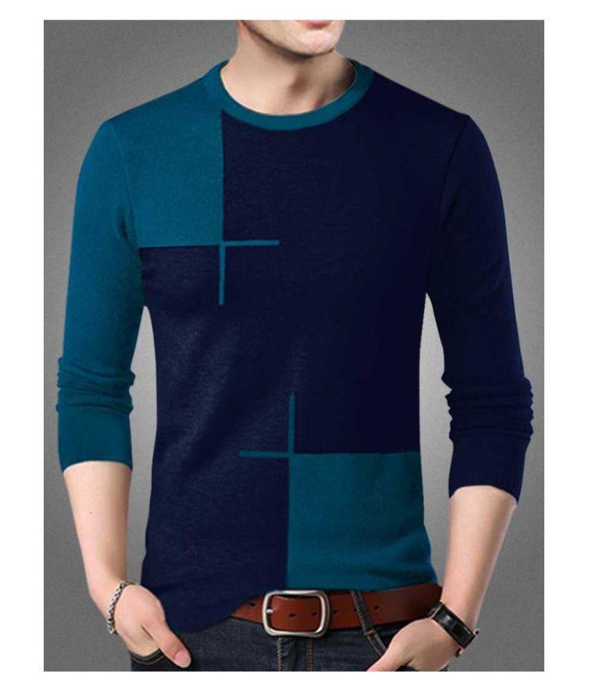 Try This Cotton Blend Blue Color Block T-Shirt