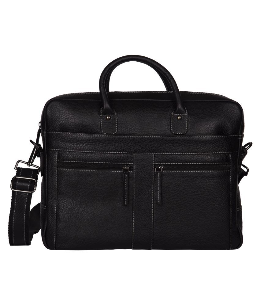 WalletsNBags P30 Black Leather Office Messenger Bag