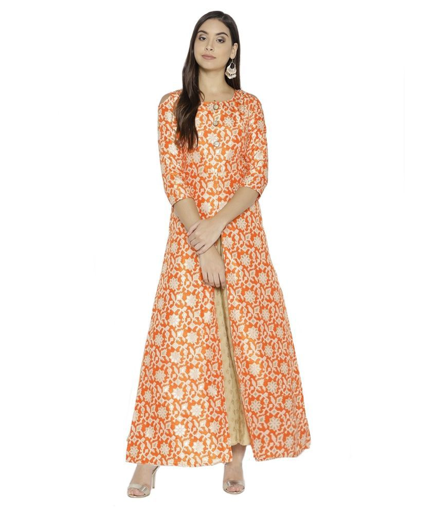 Cottinfab Orange Bangalore Silk High Slit Kurti
