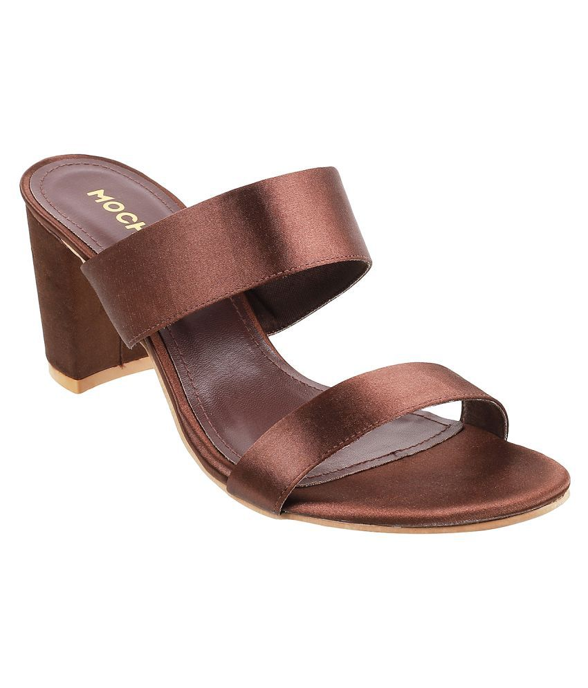 Mochi Brown Block Heels