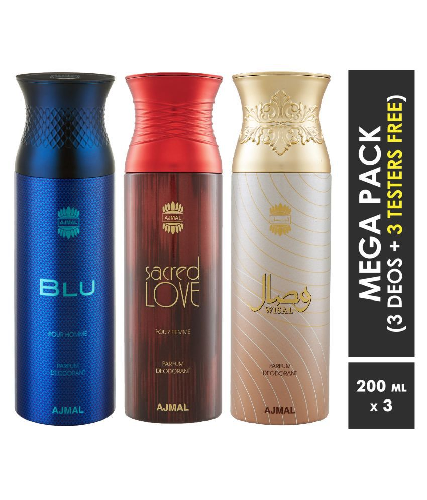Ajmal Blu & Sacred Love & Wisal Dahab Deodorant Spray  For Men & Women 200ml each (Pack of 3, 600ml) + 3 Parfum Testers  Free