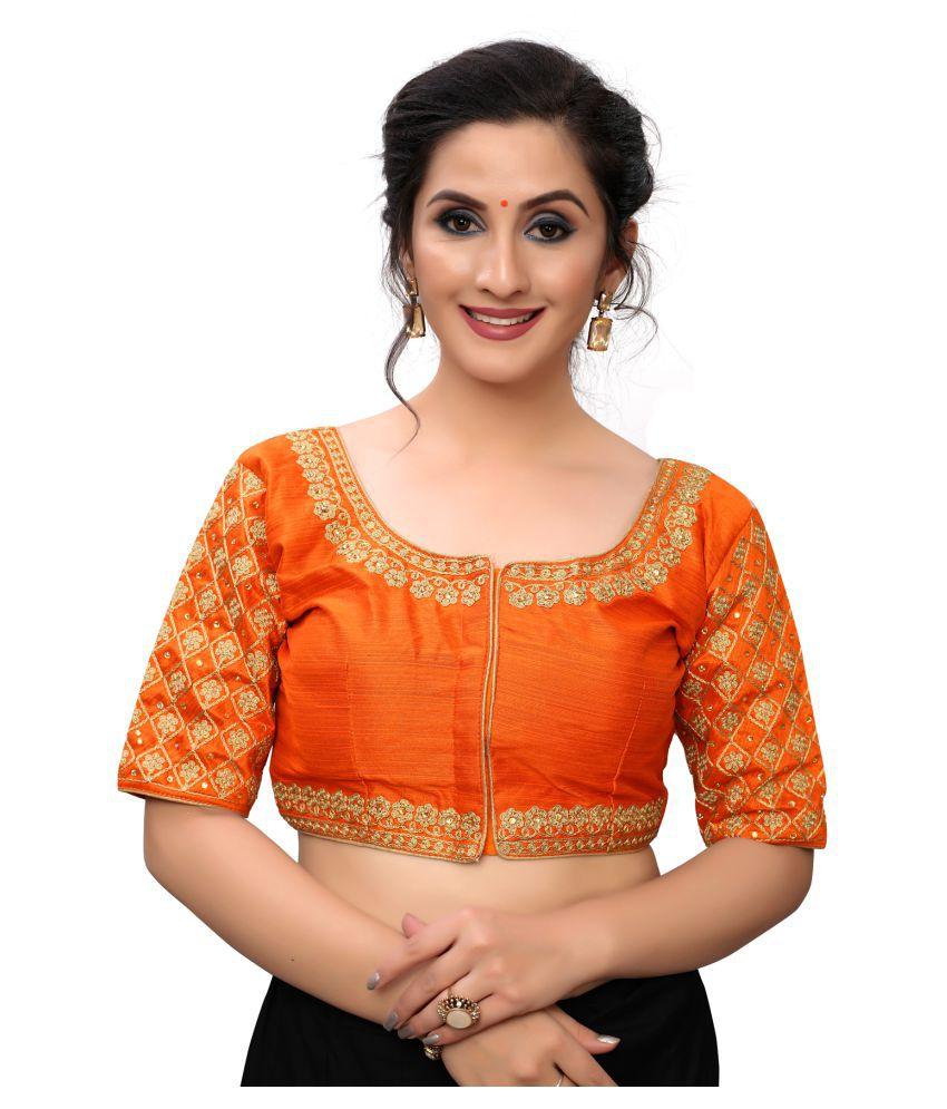 Hirvanti Fashion Orange Satin Readymade with Pad Blouse
