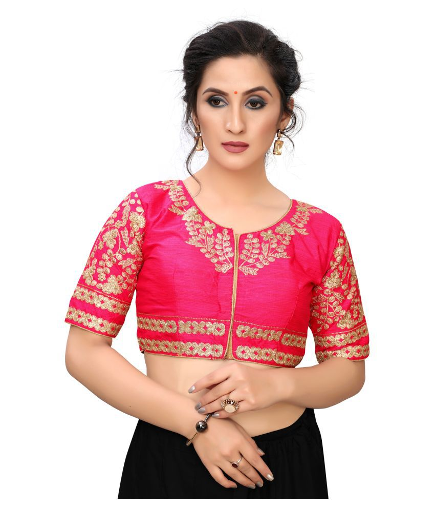 Hirvanti Fashion Pink Satin Readymade with Pad Blouse