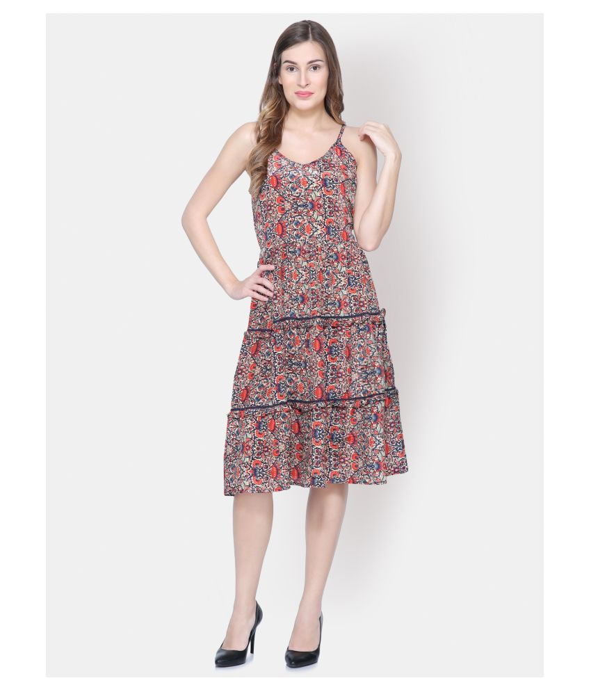 Yaadleen Polyester Multi Color Fit And Flare Dress