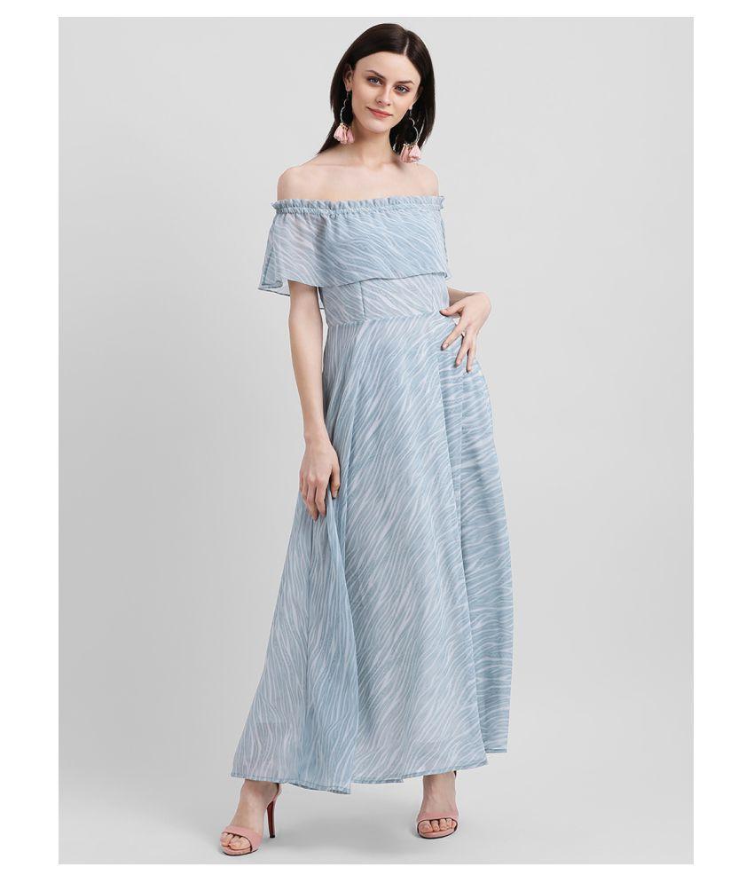 Zink London Polyester Blue Off Shoulder