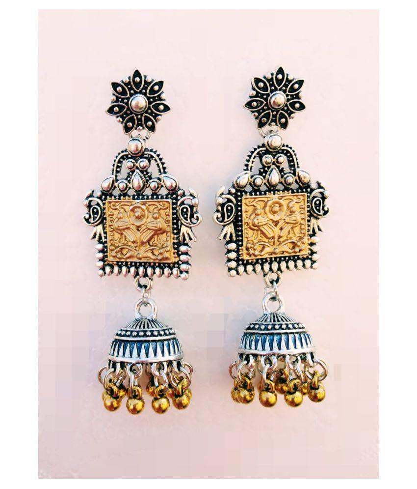 Oxidized Dual Tone Jhumki Earrings