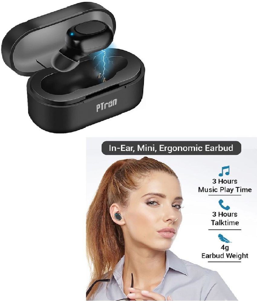 PTron Atom mini Bluetooth Headset with Charging Dock - Black