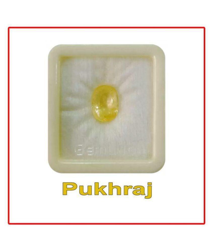 SARVNI GEMS 6.25 -Ratti AGL Yellow Yellow Sapphire (Pukhraj) Precious Gemstone