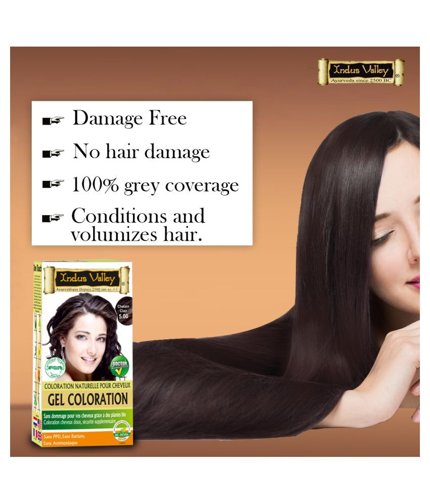 Indus Valley Gel Hair Dye One Touch Pack Root Touch Ups Haair Color Light Brown 5.0 150 mL Pack of 4