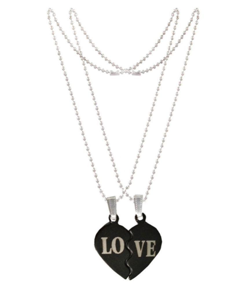 LOVE Broken Black Heart Chain Pendant