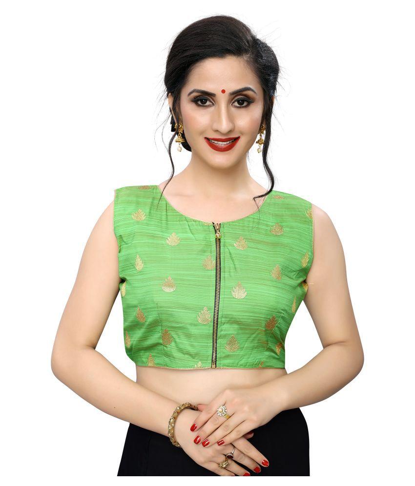 PRAFULBHAI KANTILAL RACHHADIYA (HUF) Green Jacquard Readymade with Pad Blouse