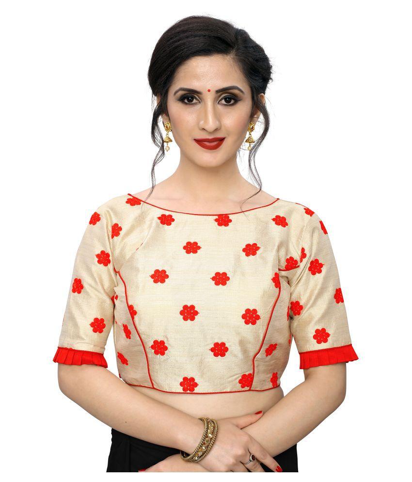 PRAFULBHAI KANTILAL RACHHADIYA (HUF) Red Silk Readymade with Pad Blouse