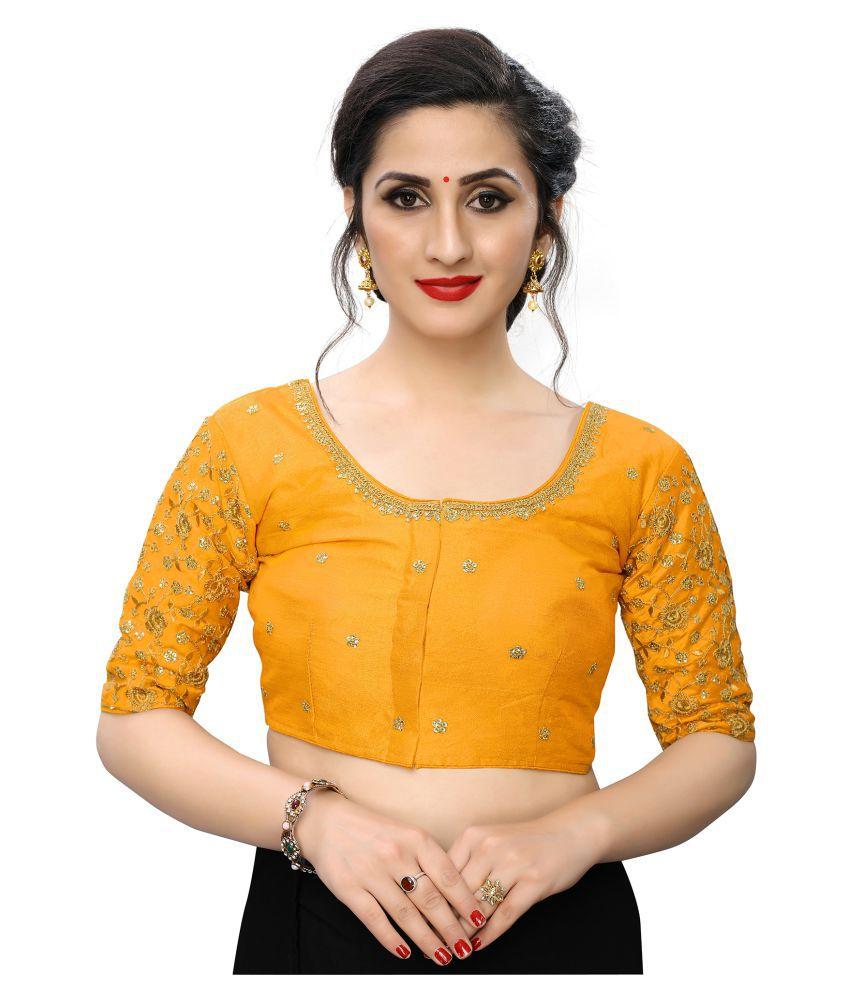 PRAFULBHAI KANTILAL RACHHADIYA (HUF) Yellow Silk Readymade with Pad Blouse