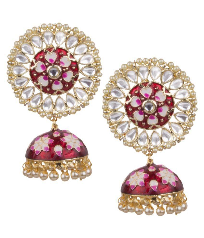 Piah Fashion Gold Plated Red & White Minakari Lotus Design Heavy Dangling Jhumkhi For Women & Girls \n