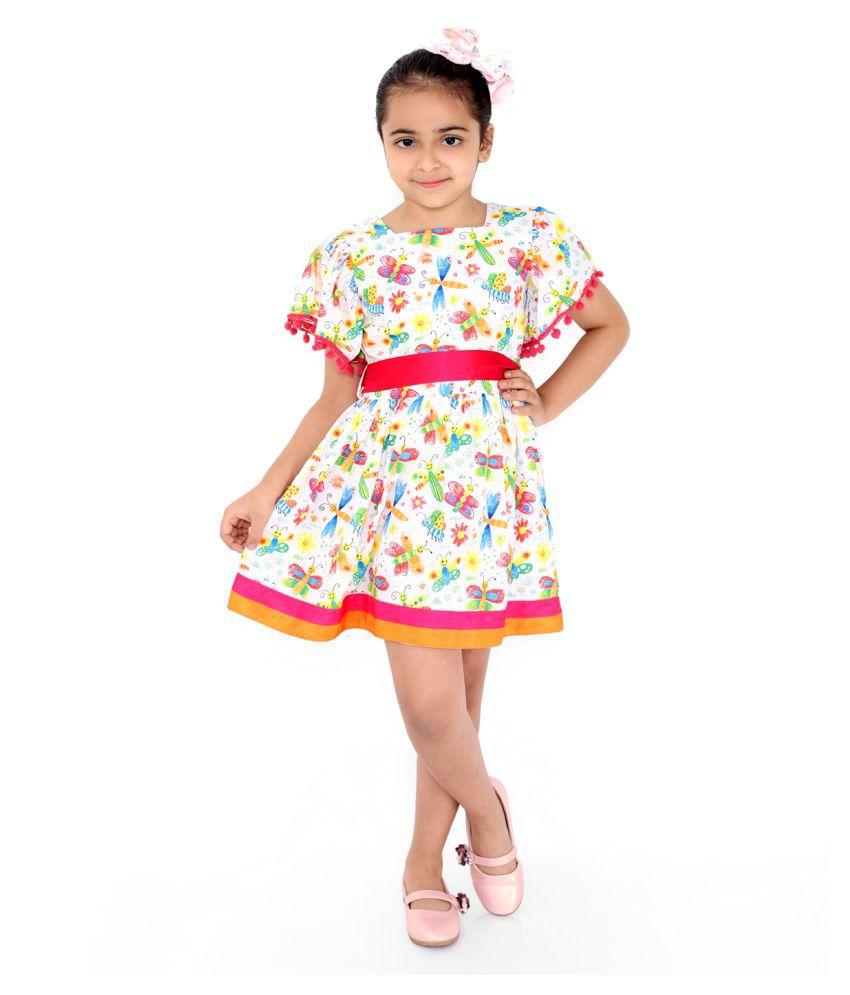 Girls Midi/Knee Length Casual Dress  (Multicolor, Sleeveless)