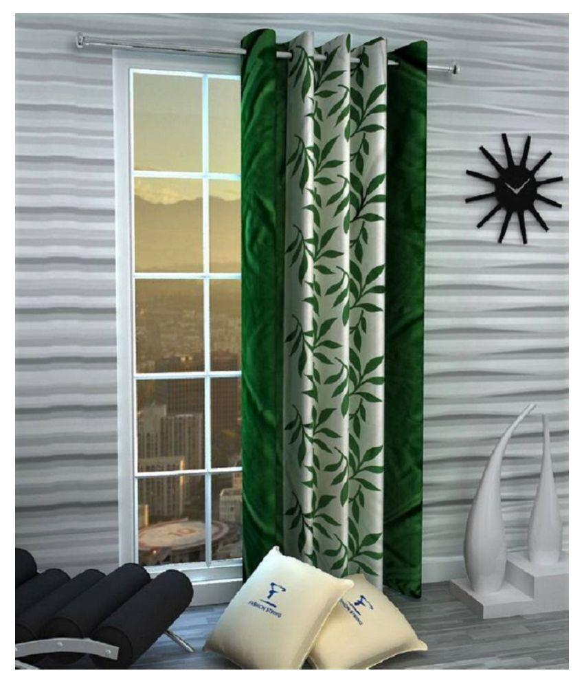 Zatchbell Single Window Semi-Transparent Eyelet Polyester Curtains Green