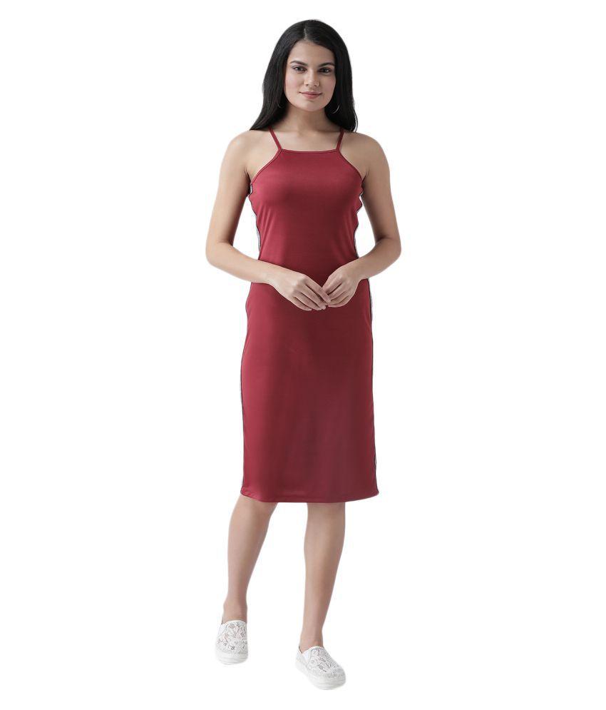 Texco Polyester Maroon Sheath Dress