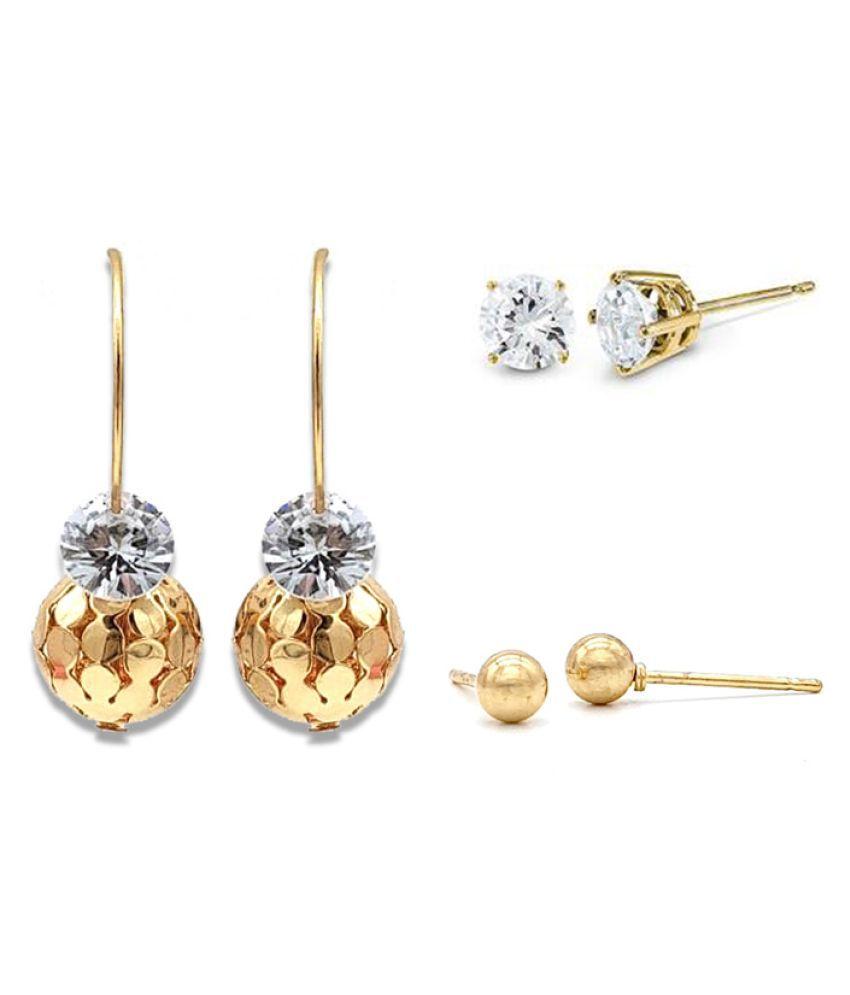 Kiyara Accessories Fashion Jewellery Disco Ball Gold Combo Earring Set for Women And Girls