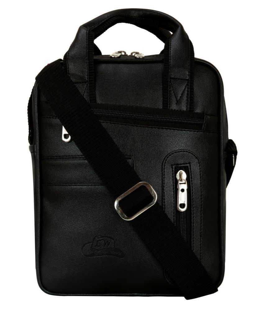 Leather Gifts na Black Leather Casual Messenger Bag