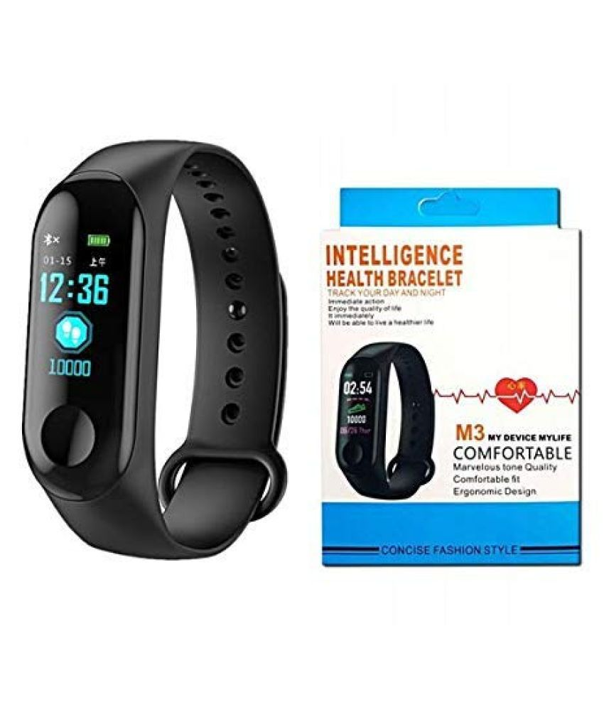 Accessor HUB M3 Smart Band Fitness Watch with Activity Tracker Waterproof Body Functions Like Steps/Calorie Counter, Blood Pressure, Heart Rate Monitor LED Touchscreen