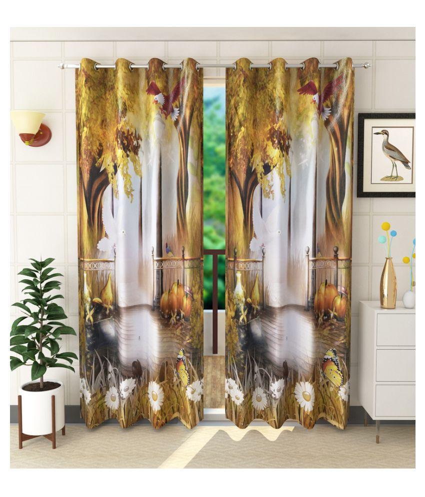 Jiyansh decor Set of 2 Window Semi-Transparent Eyelet Polyester Curtains Beige