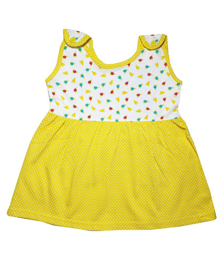 KIDEEZGUILD… Yellow 3-6 Months  Attractive Stylish Latest Printed Casual Design Comfortable Fashionable New Born Baby Kids Girls Infant Summer Cotton Daily Wear Front or Shoulder Open Half Cut Sleeves  Frock Dress Combo Set Pack Of 1